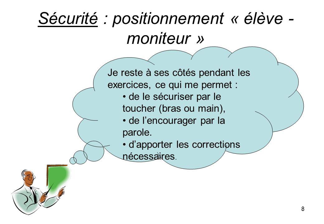 Sécurité : positionnement « élève - moniteur »