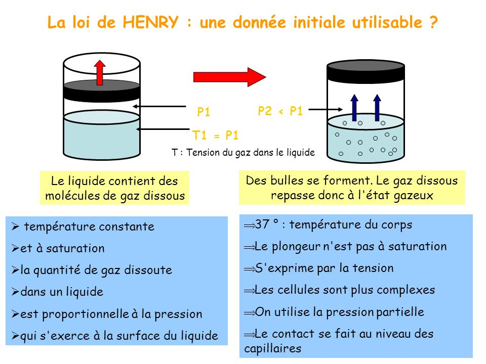 La loi de HENRY : une donnée initiale utilisable