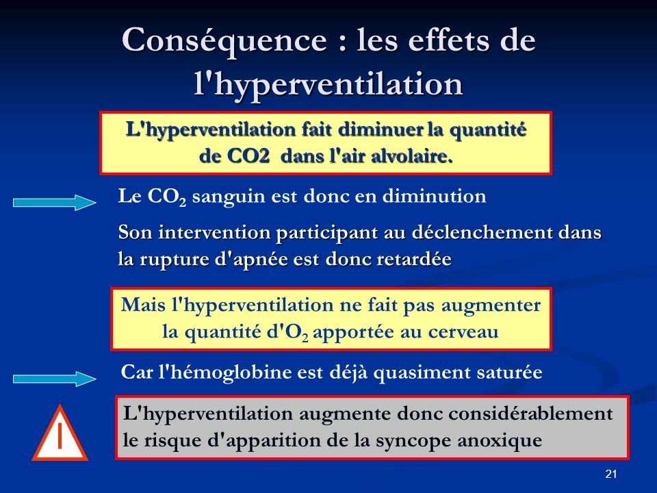 Conséquence : les effets de l hyperventilation