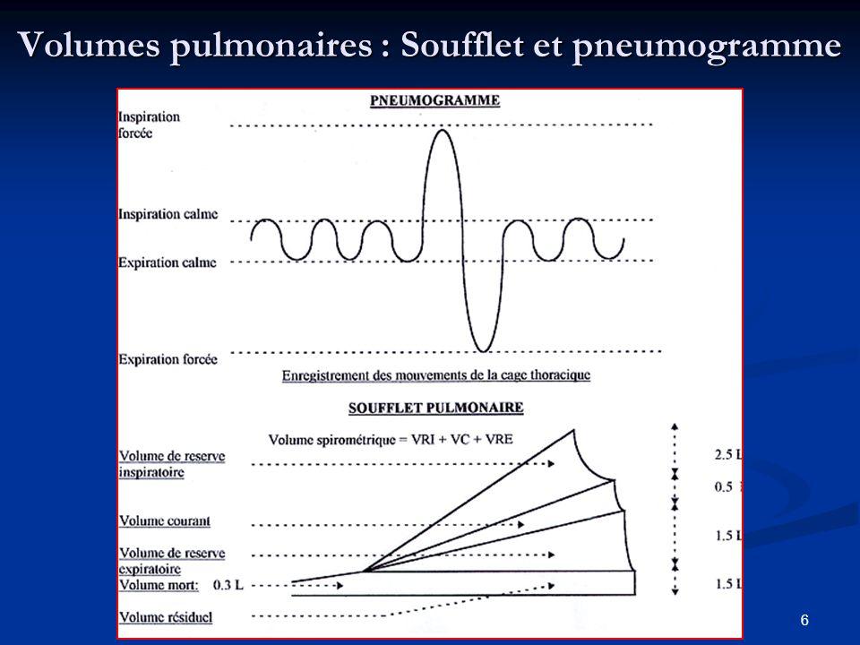Volumes pulmonaires : Soufflet et pneumogramme