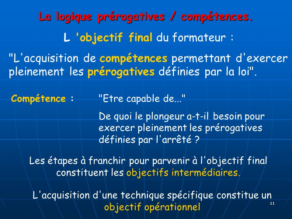 La logique prérogatives / compétences.