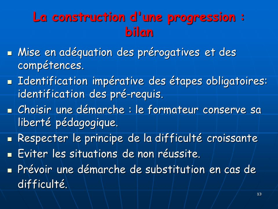 La construction d une progression : bilan