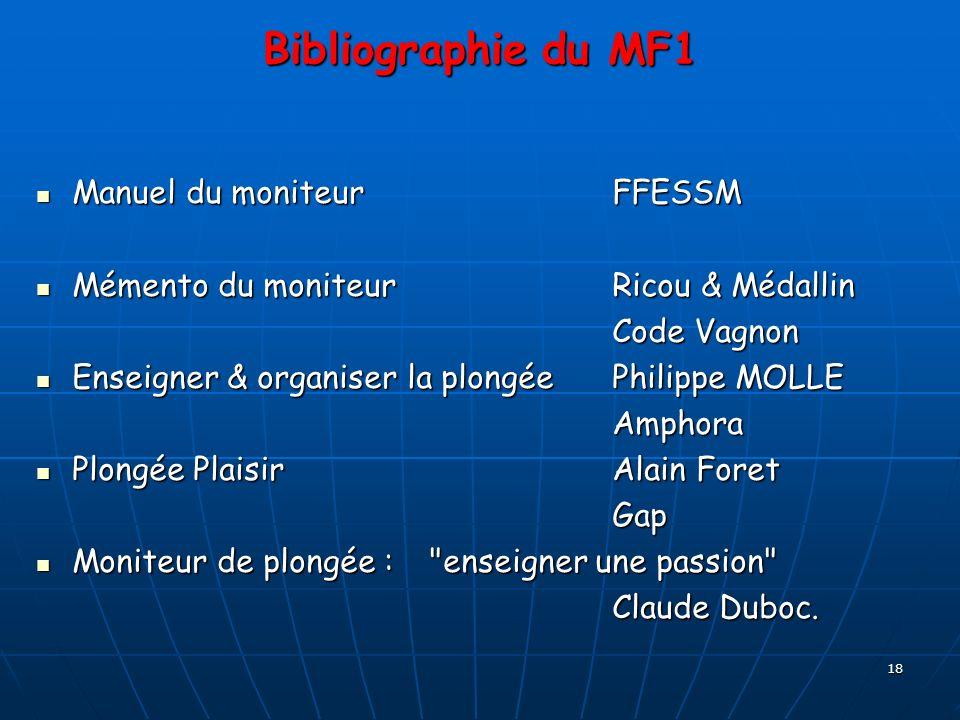 Bibliographie du MF1 Manuel du moniteur FFESSM