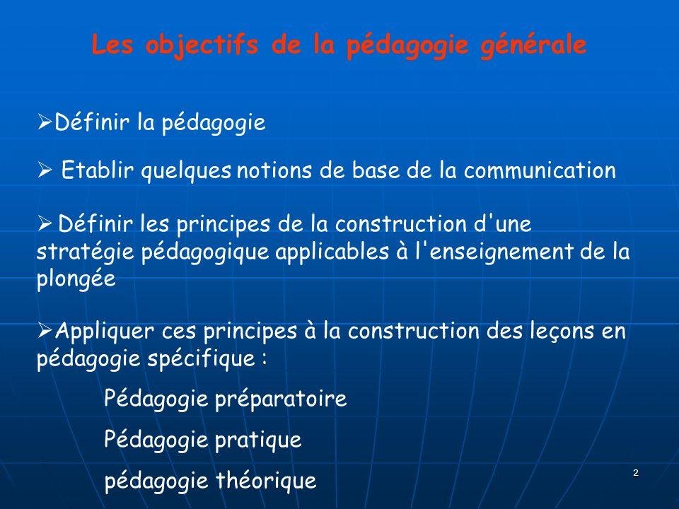 Les objectifs de la pédagogie générale