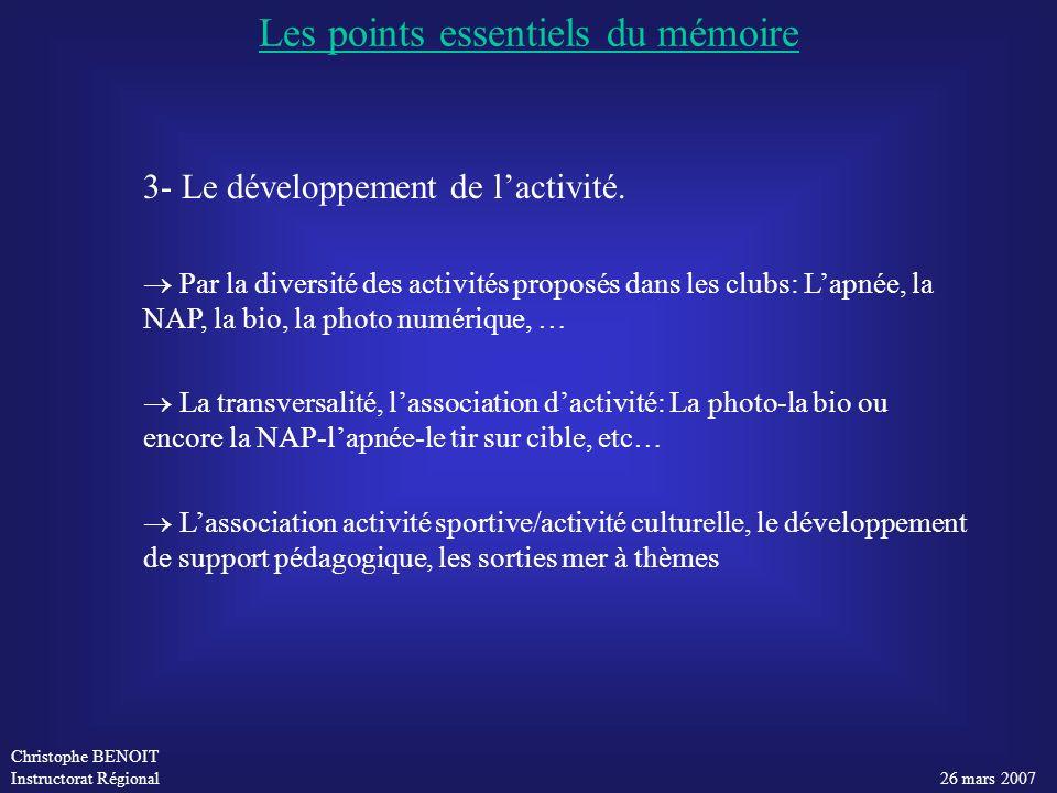 Les points essentiels du mémoire