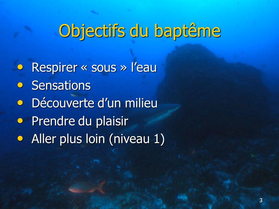 Objectifs du baptême Respirer « sous » l'eau Sensations