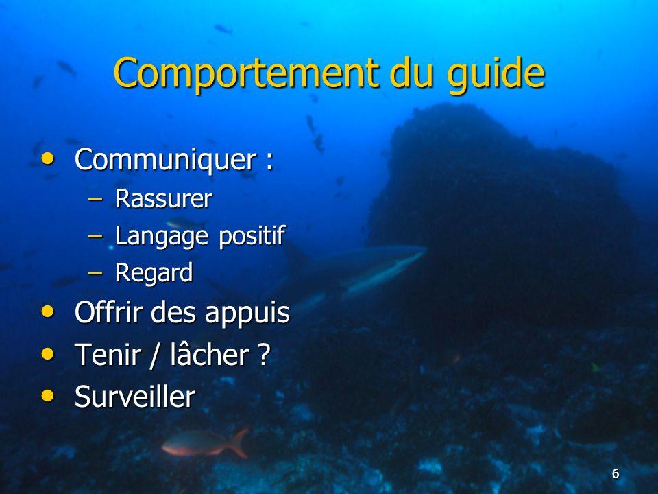 Comportement du guide Communiquer : Offrir des appuis Tenir / lâcher