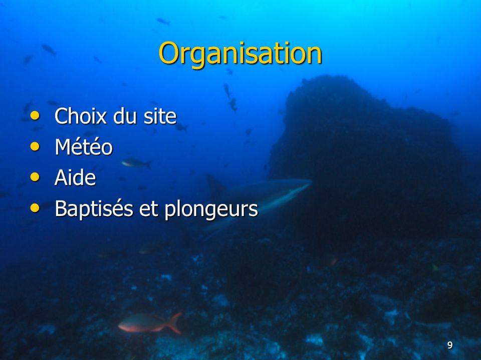 Organisation Choix du site Météo Aide Baptisés et plongeurs