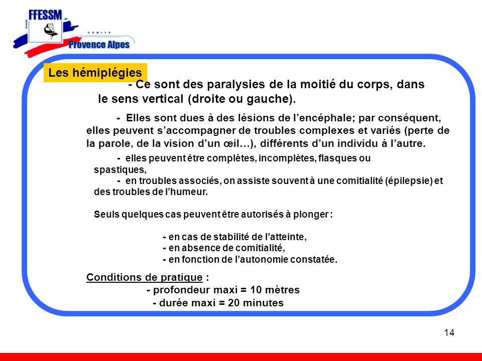 Les hémiplégies - Ce sont des paralysies de la moitié du corps, dans le sens vertical (droite ou gauche).