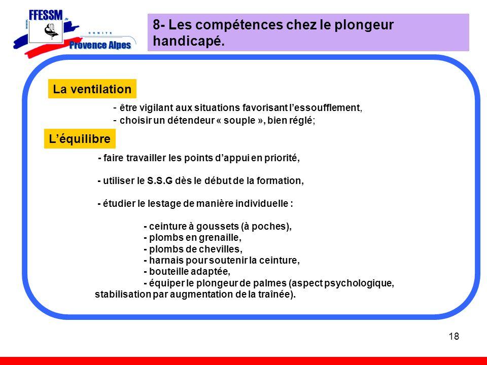 8- Les compétences chez le plongeur handicapé.