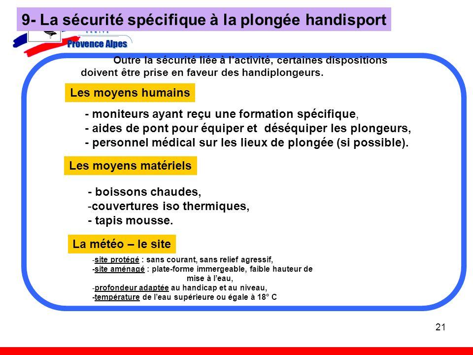 9- La sécurité spécifique à la plongée handisport