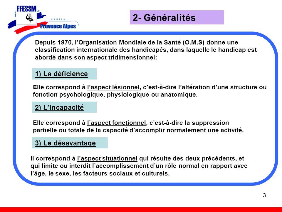 2- Généralités 1) La déficience 2) L'incapacité 3) Le désavantage