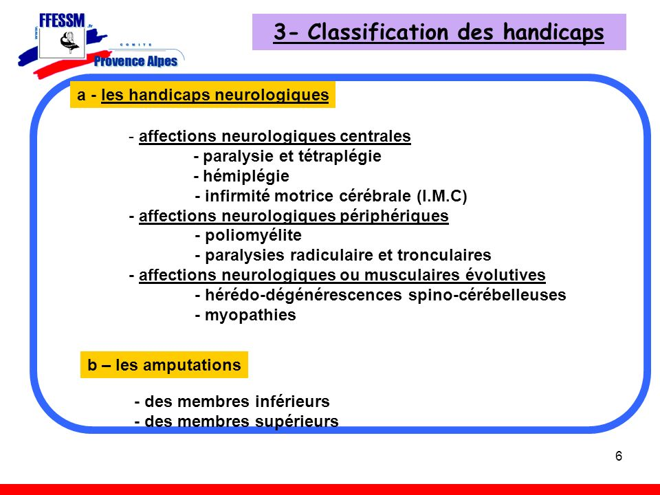3- Classification des handicaps