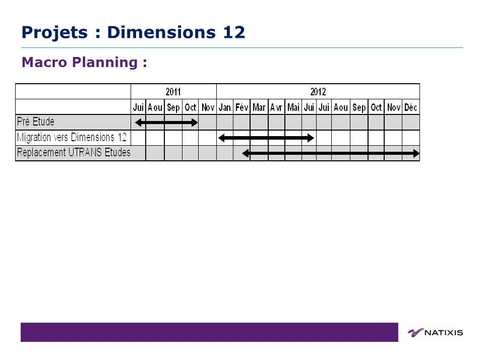 Projets : Dimensions 12 Macro Planning : Point Projet : Dimensions 12