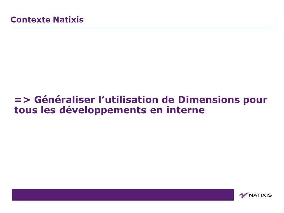 Contexte Natixis => Généraliser l'utilisation de Dimensions pour tous les développements en interne.