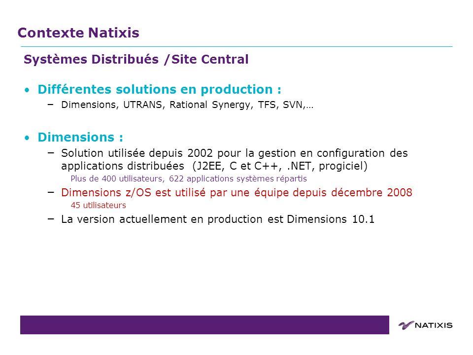 Contexte Natixis Systèmes Distribués /Site Central