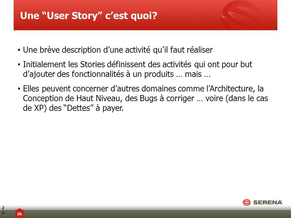 Une User Story c'est quoi