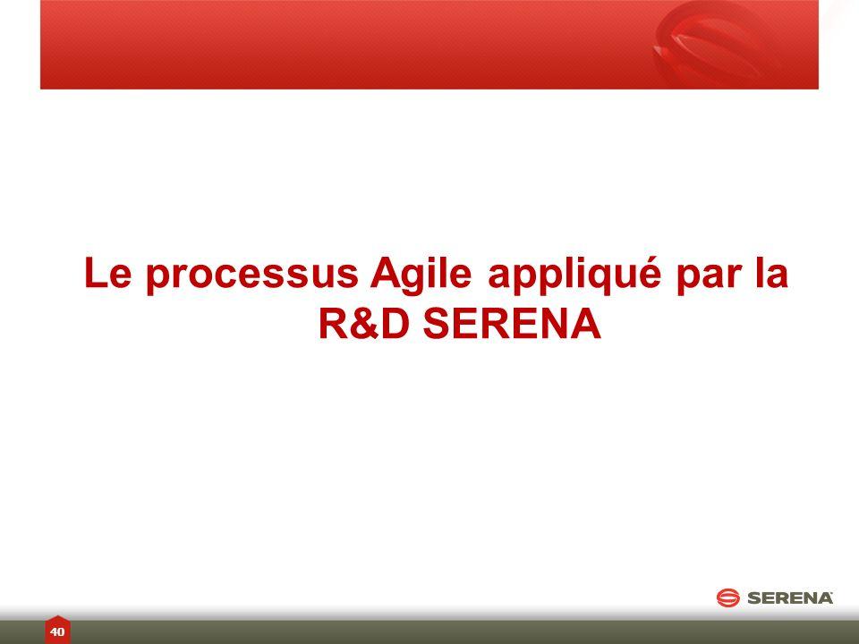 Le processus Agile appliqué par la R&D SERENA
