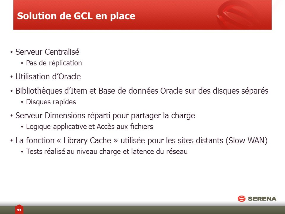Solution de GCL en place
