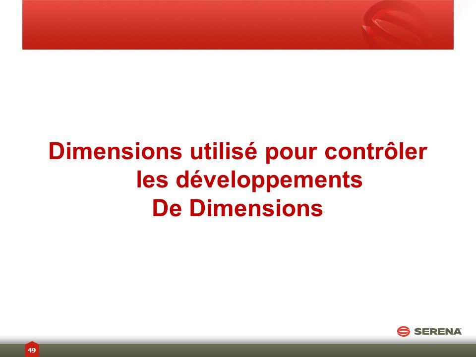 Dimensions utilisé pour contrôler les développements