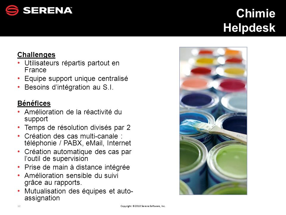 Chimie Helpdesk Challenges Utilisateurs répartis partout en France