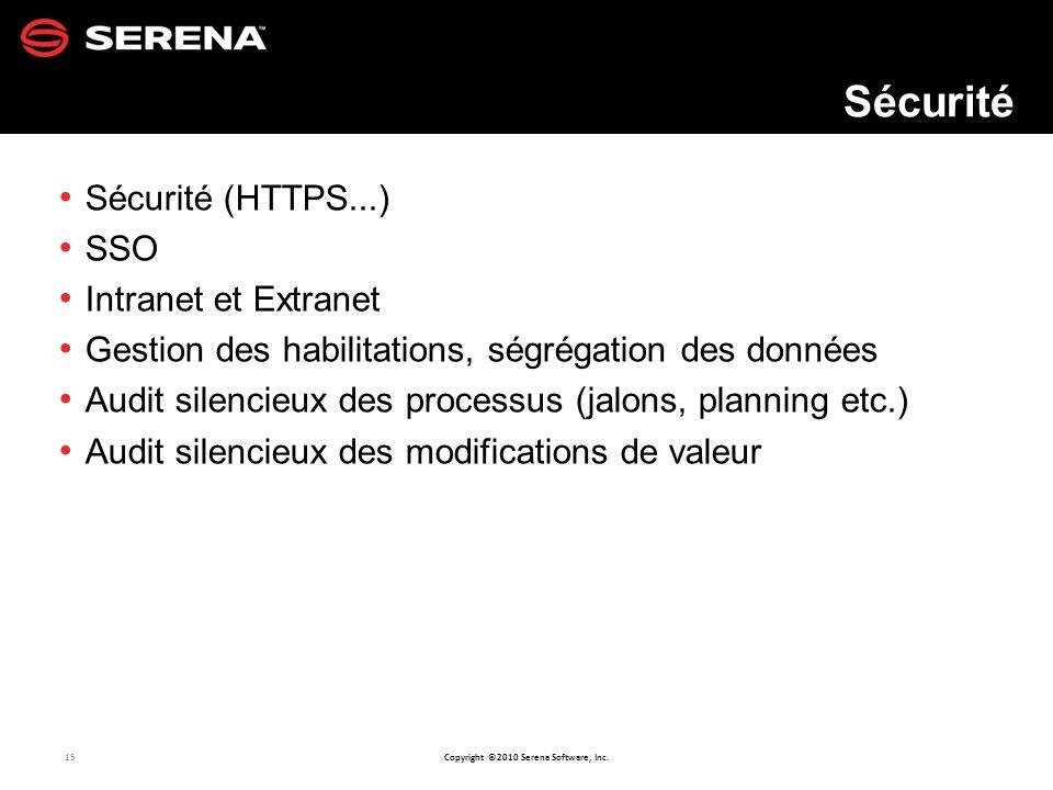 Sécurité Sécurité (HTTPS...) SSO Intranet et Extranet