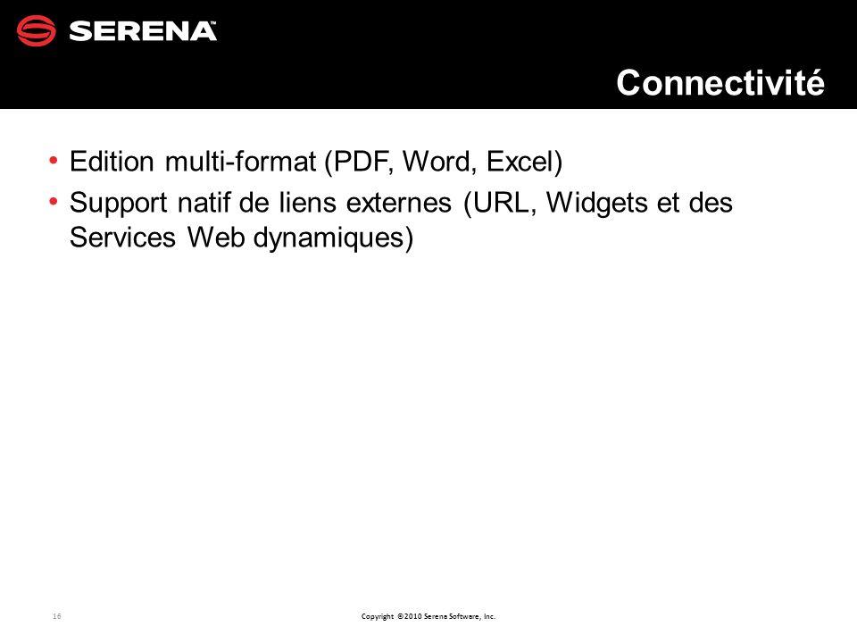 Connectivité Edition multi-format (PDF, Word, Excel)