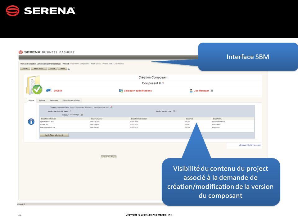 Interface SBM Visibilité du contenu du project associé à la demande de création/modification de la version du composant.