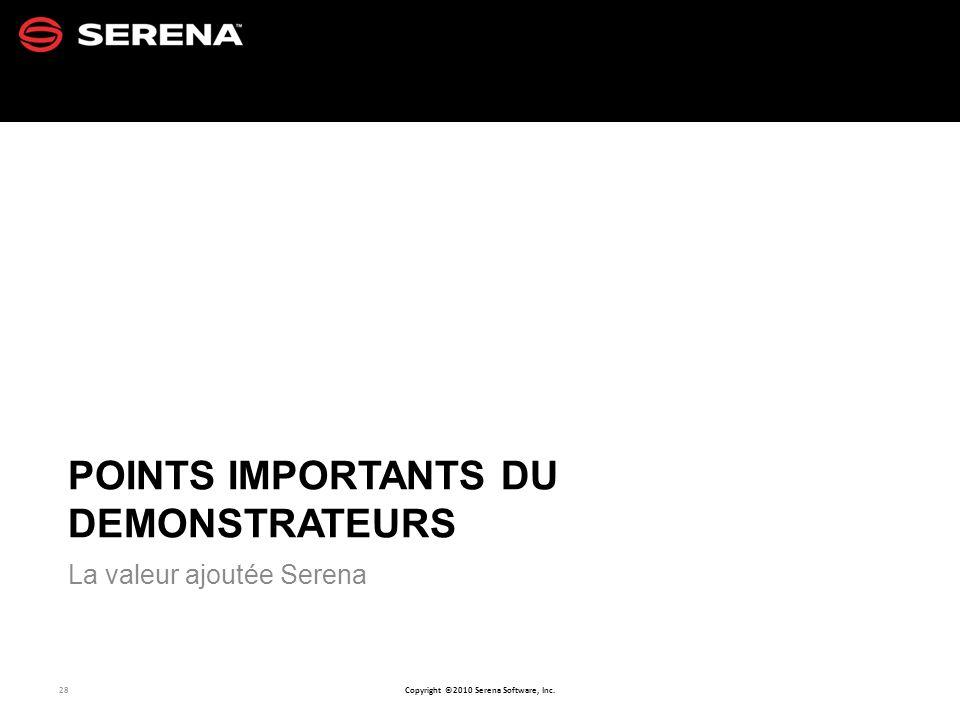 POINTS IMPORTANTS DU DEMONSTRATEURS