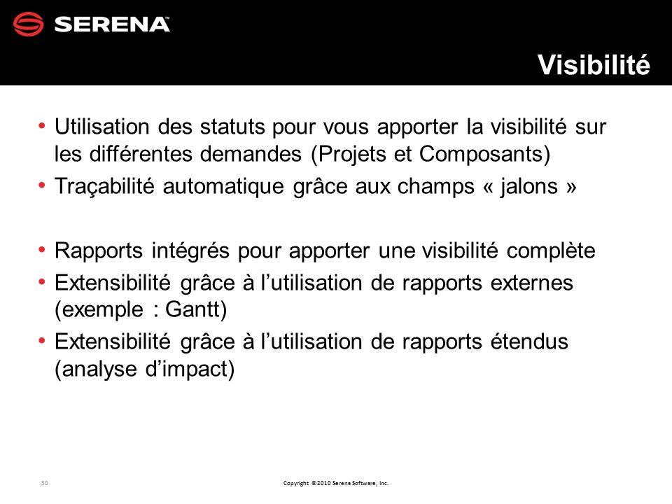 Visibilité Utilisation des statuts pour vous apporter la visibilité sur les différentes demandes (Projets et Composants)
