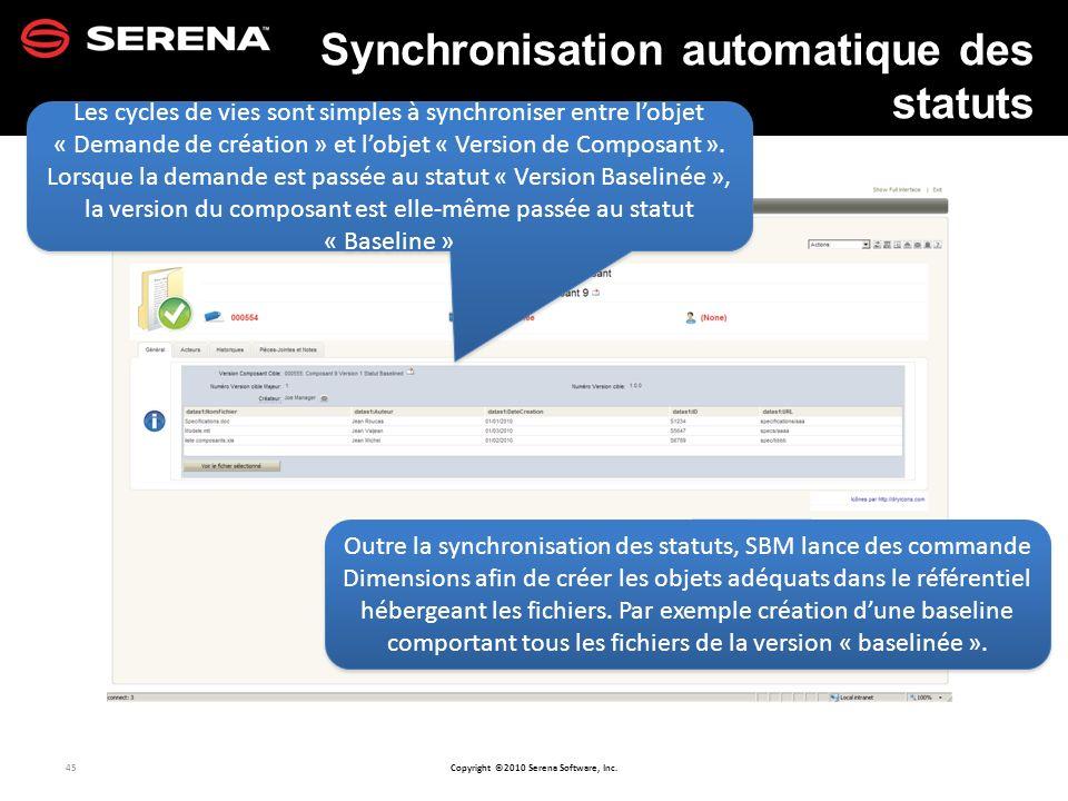 Synchronisation automatique des statuts