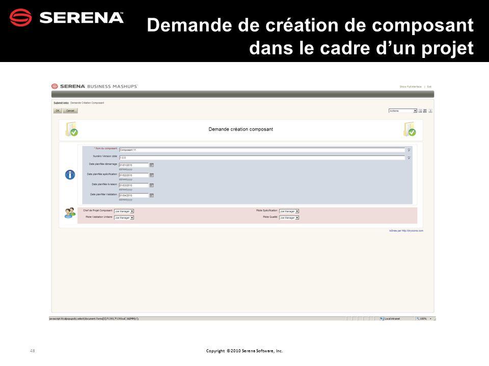 Demande de création de composant dans le cadre d'un projet