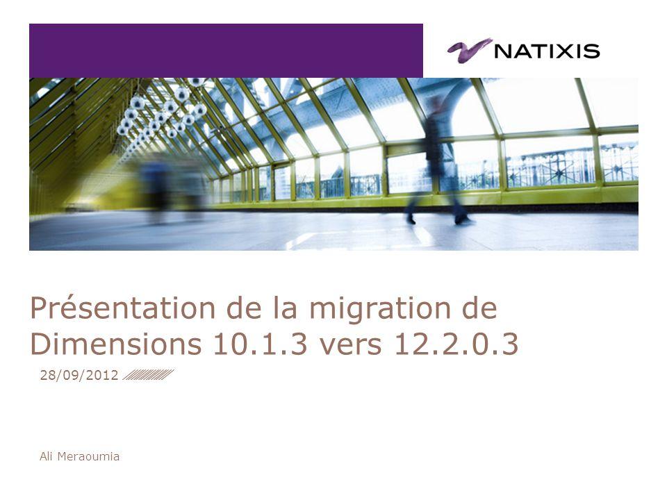 Présentation de la migration de Dimensions 10.1.3 vers 12.2.0.3