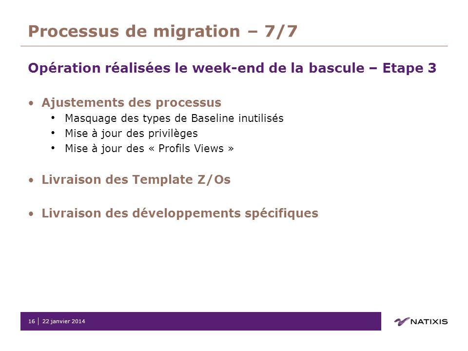 Processus de migration – 7/7