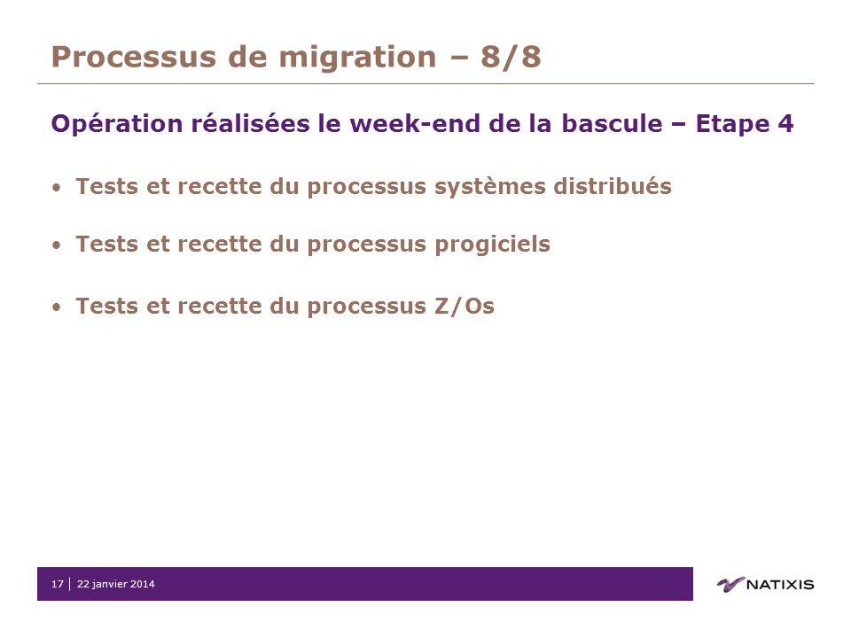 Processus de migration – 8/8