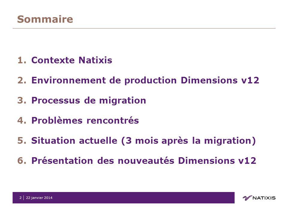 Sommaire Contexte Natixis Environnement de production Dimensions v12