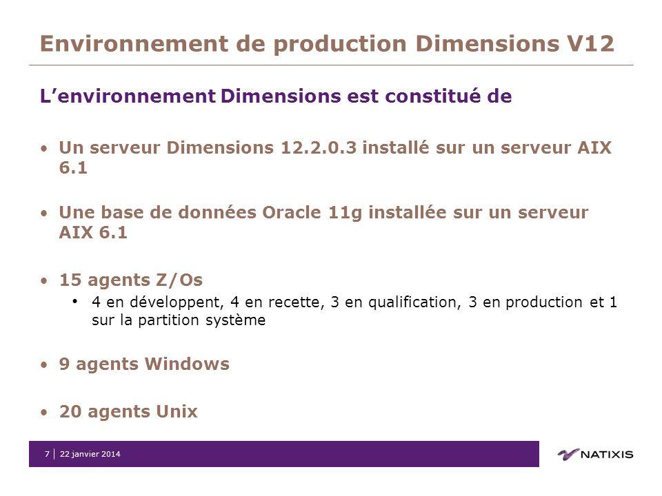Environnement de production Dimensions V12