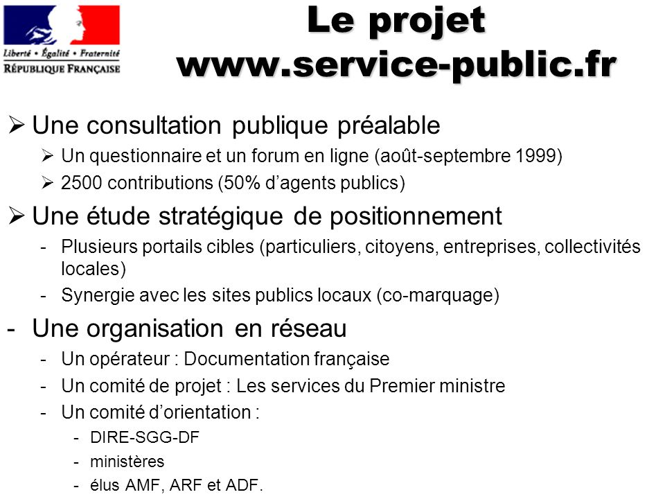 Le projet www.service-public.fr