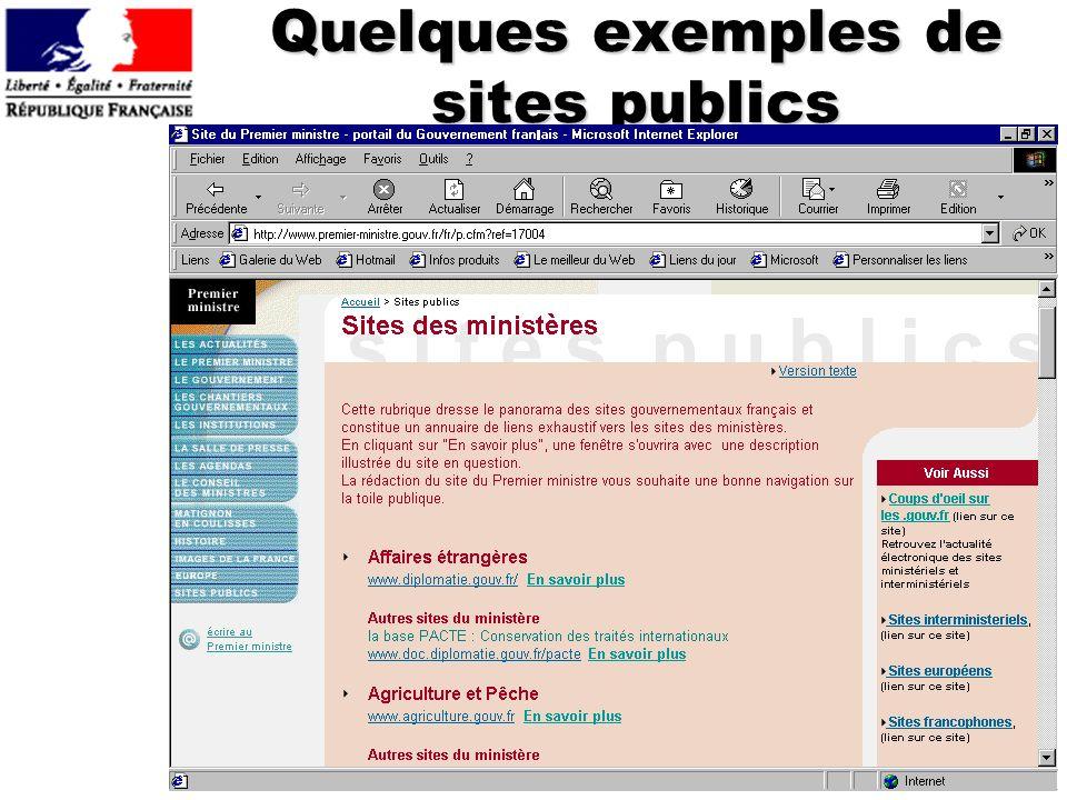 Quelques exemples de sites publics