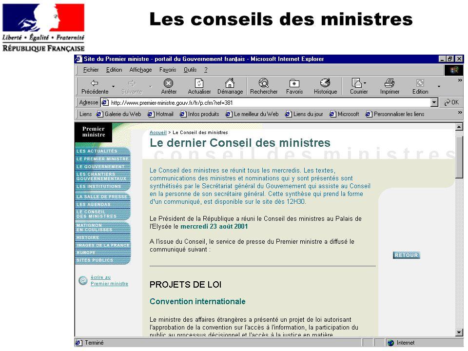 Les conseils des ministres