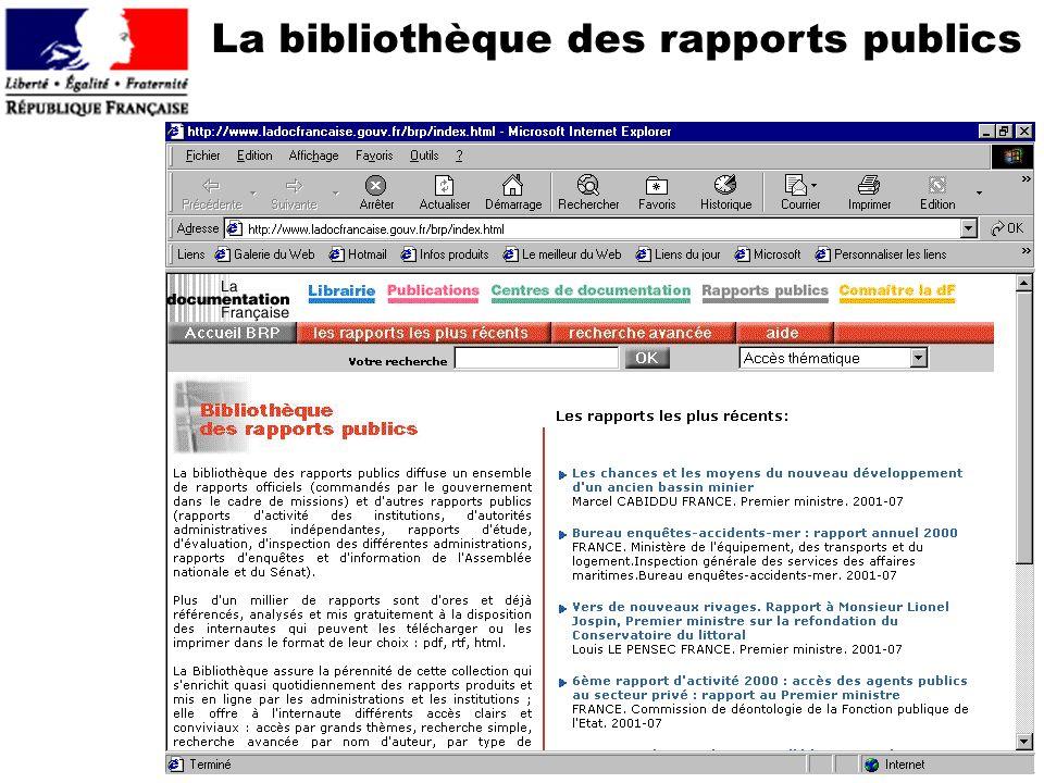 La bibliothèque des rapports publics