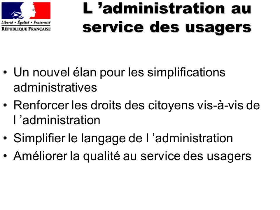 L 'administration au service des usagers