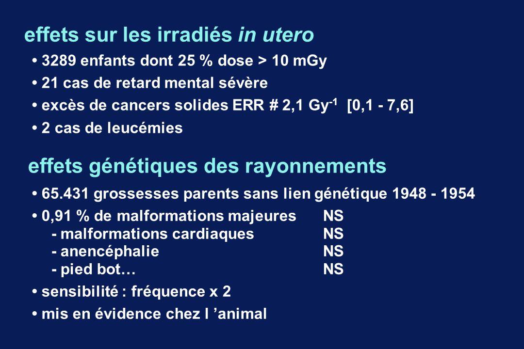 effets sur les irradiés in utero