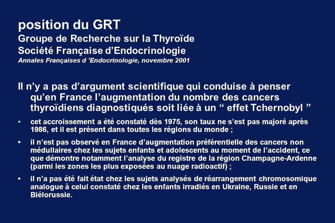 position du GRT Groupe de Recherche sur la Thyroïde
