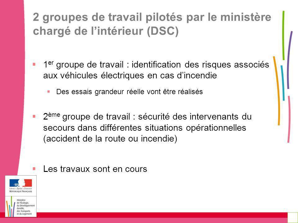2 groupes de travail pilotés par le ministère chargé de l'intérieur (DSC)