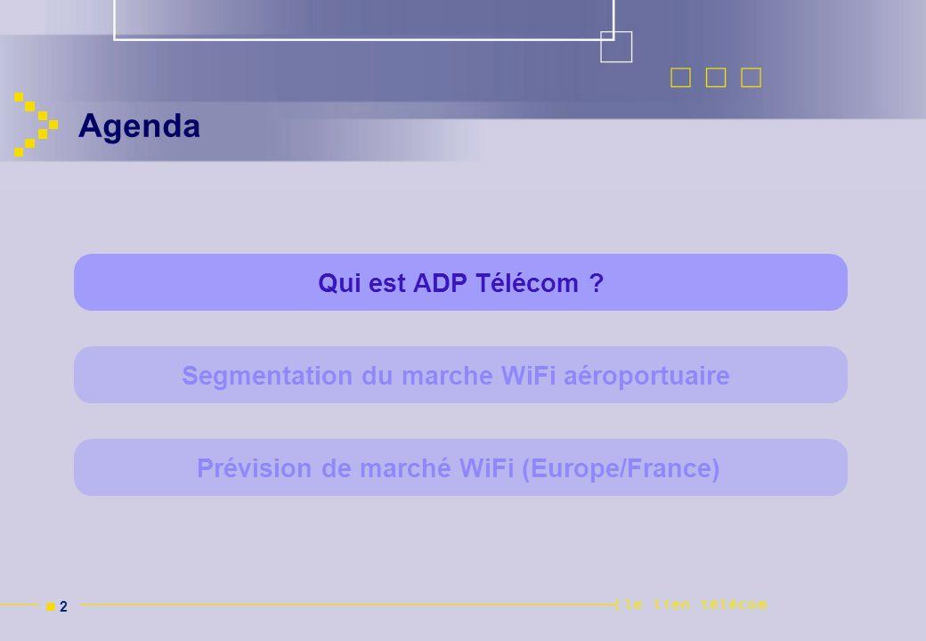 Agenda Qui est ADP Télécom Segmentation du marche WiFi aéroportuaire