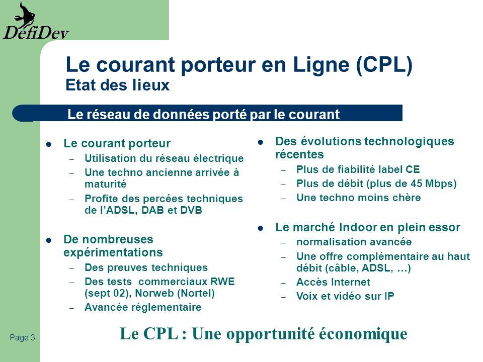 Le courant porteur en Ligne (CPL) Etat des lieux