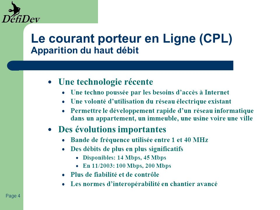 Le courant porteur en Ligne (CPL) Apparition du haut débit