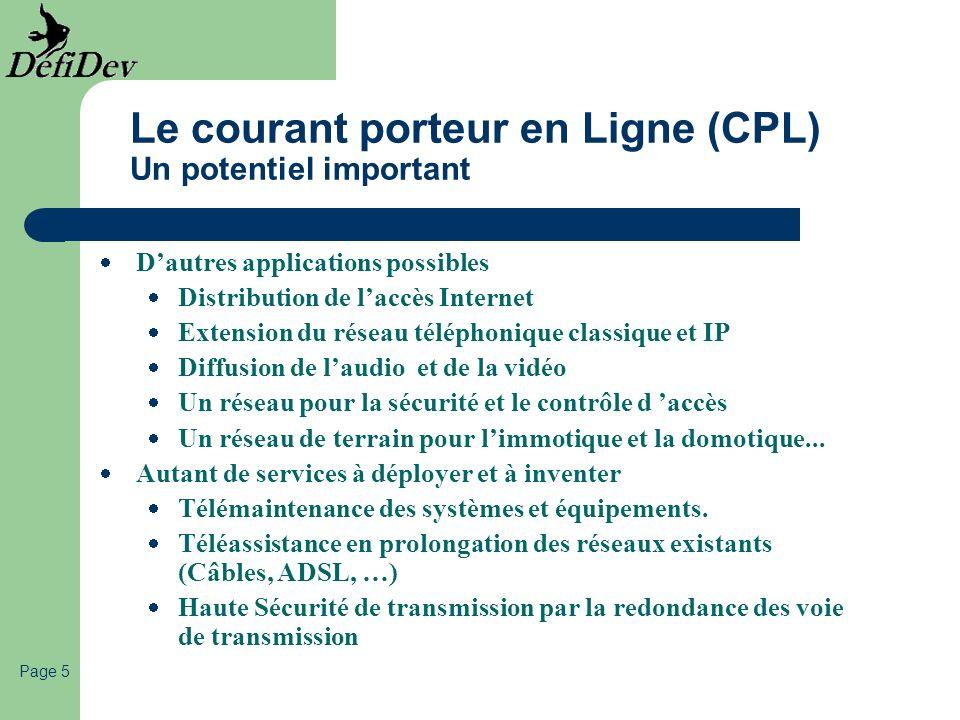 Le courant porteur en Ligne (CPL) Un potentiel important