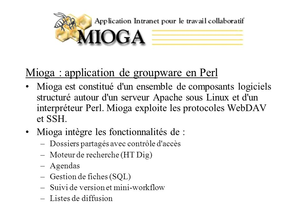 Mioga : application de groupware en Perl